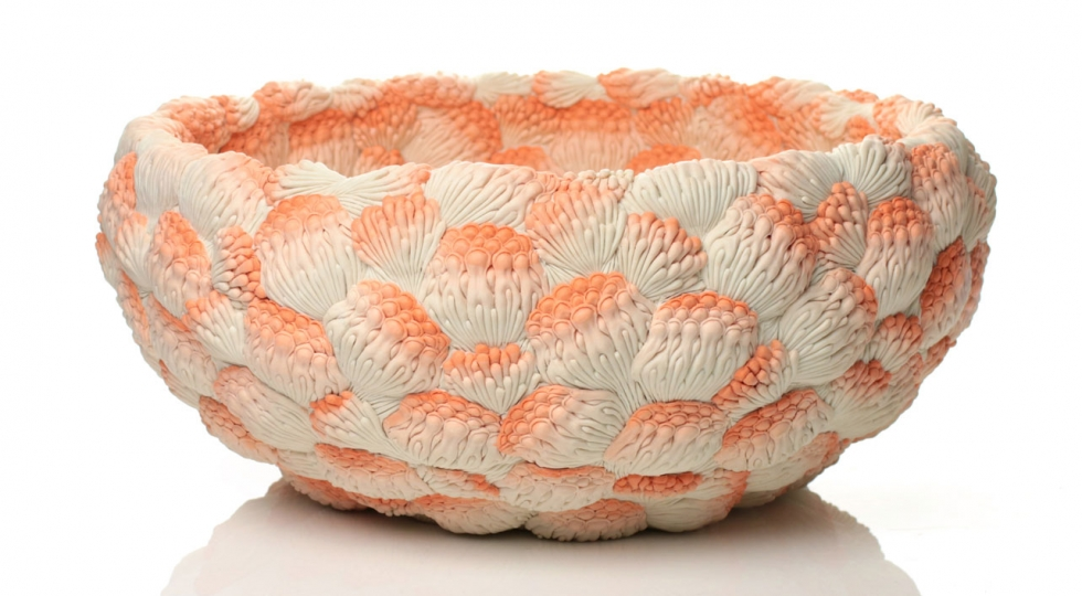 'A Large Orange Coral Bowl', 2014 by Hosono Hitomi. Image courtesy of Adrian Sassoon, London