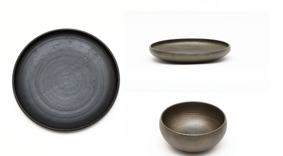 Lacquer plate and bowl by Tokeshi.