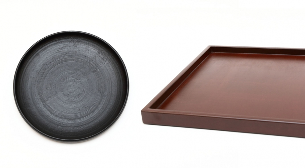 Lacquer plate and tray by Tokeshi
